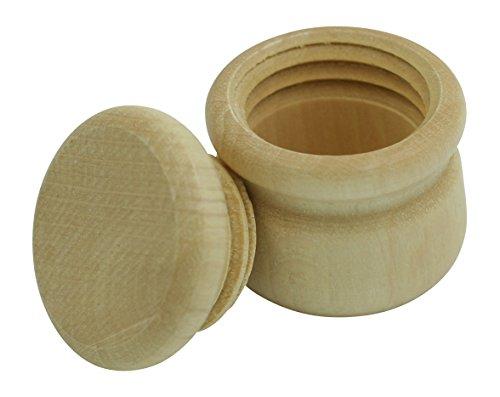 GICO Döschen aus Holz Buche Ø 34 mm neutral mit Schraubverschluss zum selber gestalten, Holzdose Natur (34 mm) -7000