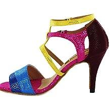 Moda moderna sandalias mujer personalizables Zapatos de Baile latino/Ballroom polipiel personalizada Multi-TALÓN,color fucsia,US7.5/EU38/UK5.5/CN38