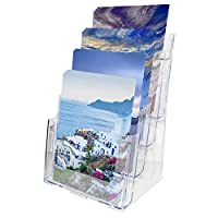 Literature Holder A4 - 4 Tier Clear Acrylic Brochure Display Stand Rack - W23(9.05) xH34.5(13.58)xD17(6.69)cm - Desktop and Wall Mounted Holder for Leaflets, Flyers, Magazines & Catalogs