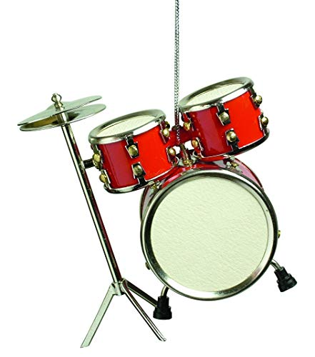 Musical Instrument Christmas Ornament (3 Red Drum Set) by Broadway Gifts (Drum-set Ornament)