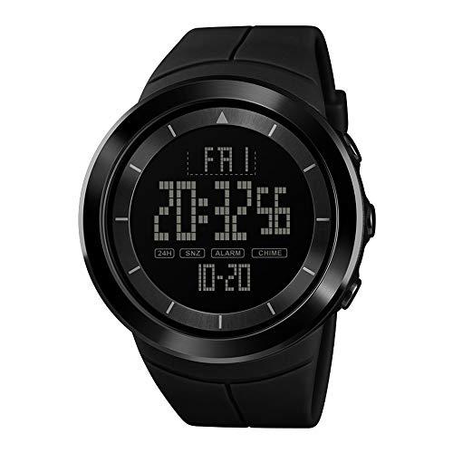 Zifferblatt Leuchtend Kalender Alarm Stoppuhr 24h LED Digital Armbanduhren für Herren Weich Schwarz PU Band Sport ()