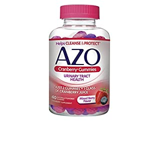 AZO Cranberry Urinary Tract Health Gummies Dietary Supplement | 2 Gummies = 1 Glass of Cranberry Juice | Helps Cleanse & Protect* | Natural Mixed Berry Flavor | 40 Gummies
