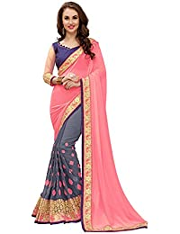 Saree Center Women's Clothing Georgette Saree Latest Party Wear Design Free Size Saree With Blouse Piece(Sarees...