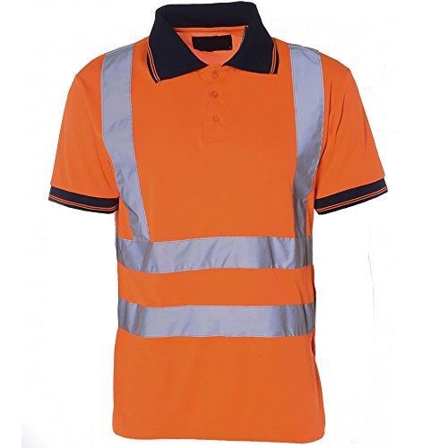 Hi Viz Herren Polo-shirt kurzärmlig Arbeit Sicherheit High Vis EN471 Sicherheit - Mens Two Tone Work Shirt