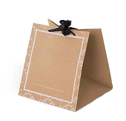 Ensemble de 3 Boîte Fleur Emballage cadeau carré Sac de papier Kraft Paniers de fleurs, Feuilles