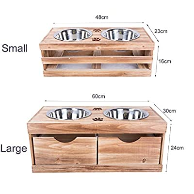 green leaves Dog Food Feeding Stand Station Stainless Double Raised Bowls Wooden Crate by green leaves