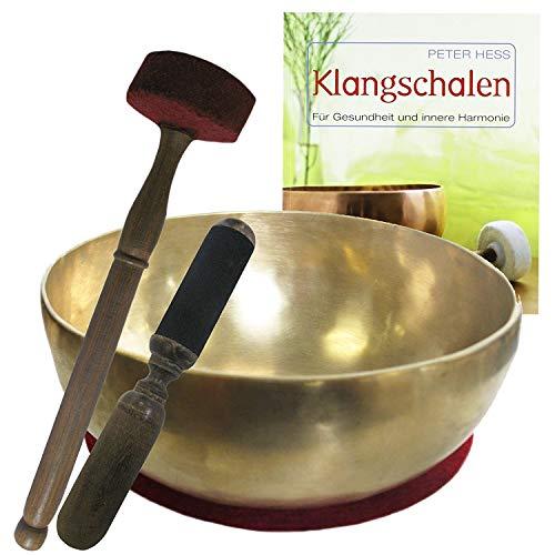 Therapie KLANGSCHALE 6-tlg Klangmassage KOMPLETT Set   KOPFSCHALE 300-400g Handarbeit Nepal + Fitnessmatte + Klöppel + Zubehör + Buch (Peter Hess)   62001-1