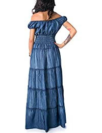 MForshop vestito vestitino abito lungo jeans elastico bandeau zingara  gitana 607 ca27a19683b