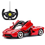 Gflyme Voiture télécommandée Grand modèle de Voiture de Sport pour Enfants, Voiture de Sport modèle Ferrari Voiture télécommandée (Rouge, Jaune)