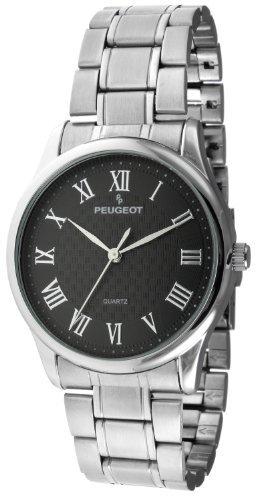 Peugeot 1027BK–Montre de Poignet pour homme, bracelet en métal couleur argent
