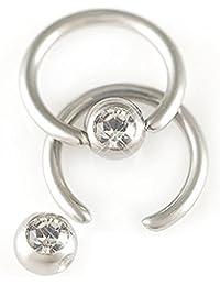 paire acier diamant noir cristal 18g 1mmx6mm bcr captifs cartilage oreille tragus helix labret levre anneaux FKSU