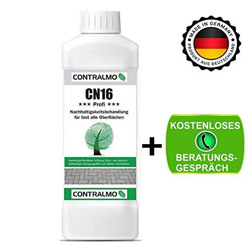 Contralmo CN16 Profi Nachhaltigkeitsbehandlung 1Liter Konzentrat -Algenentferner - Moosentferner -Moosvernichter-Algenentferner Fassade-Dachreinigung-Pflastersteine reinigen- Grünbelagentferner