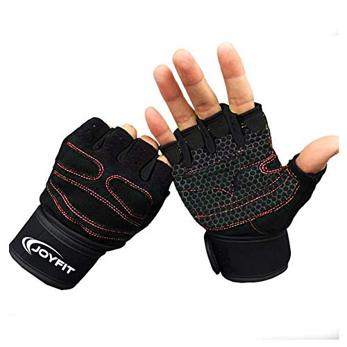 """JoyFit Weight Lifting Gloves with 12"""" Wrist Wrap Support for Workout, Gym, Sports - Red, Black (Medium)"""