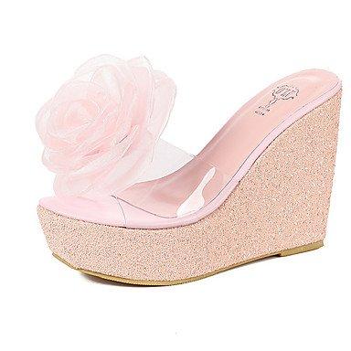 LvYuan Sandalen-Kleid-Gummi-Keilabsatz-Club-Schuhe-Schwarz Rosa Weiß White