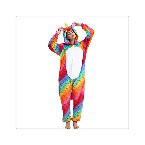 Winter Unicorn Pajamas Sets Cartoon Sleepwear for Adult Women Pijama Flannel Animal Stitch Licorne Pajama Kigurumi Pyjamas Women Fish Scale White L