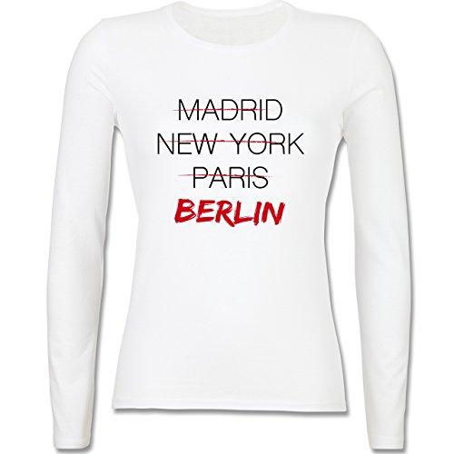 Städte - Weltstadt Berlin - tailliertes Longsleeve / langärmeliges T-Shirt für Damen Weiß