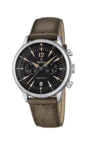 Festina hombre reloj de cuarzo con cronógrafo negro y correa de piel color marrón F16870/3