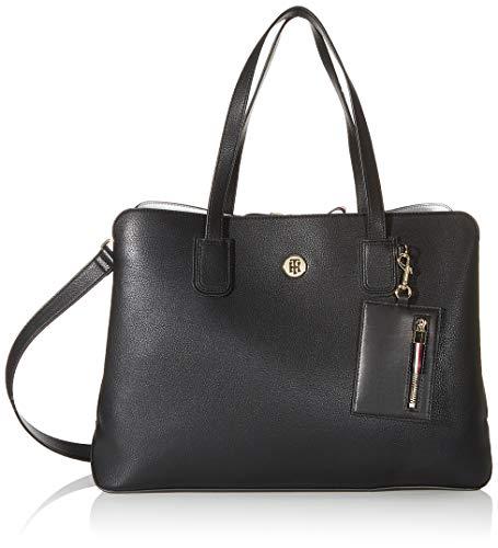 Tommy Hilfiger Damen Charming Tommy Work Bag Umhängetasche, Schwarz (Black), 29.5x37x16cm
