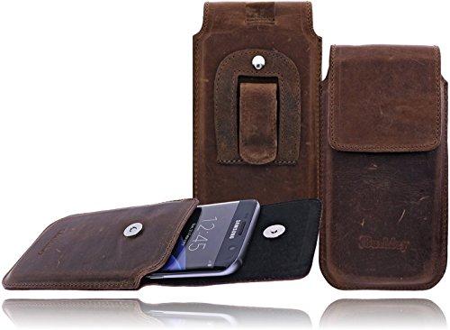 Burkley - Vintage Design - Samsung Galaxy S5 Mini (G800F) Hülle Leder Handyhülle | Slim Line | Gürteltasche | Schutzhülle | Handytasche | Vertikal-Tasche | Holster | Case | Cover | Hülle mit Gürtel-Schlaufe und Gürtel-Clip (Kaffee Braun / Vertikal) (Flap Doppeltem Mini)