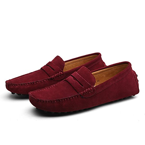 Baymate Hommes Confort Conduire Voiture Glisser Sur Loafers Appartements Vin Rouge