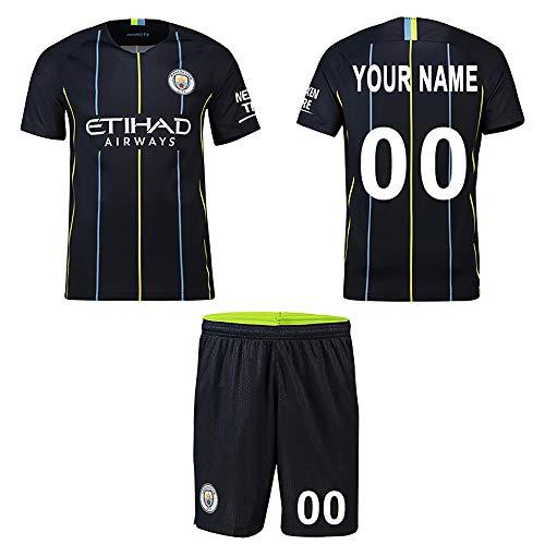 (WFhome Personalisierte Manchester City F.C. Auswärts Fußball Shirt Benutzerdefinierte Fußball Trikots mit Team Name Spieler Namen und Zahlen)