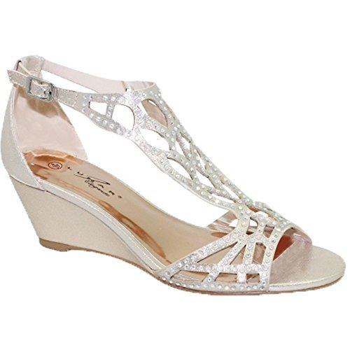 Fantasia Boutique flc111 Denton Strass Ruban Diamant Sandales Semelle Compensée Bout Ouvert Sac à Main or (Chaussure seulement)