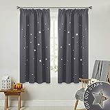 PONY DANCE Vorhang Verdunkelung Sterne - Ausgehöhlten Sterne Blickdicht Vorhang mit Kräuselband Gardine Dekoschale für Kinderzimmer, 2 Stücke H 137 x B 116 cm, Grau