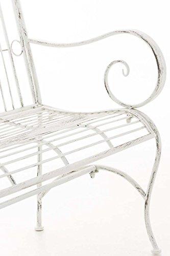 CLP Metall Gartenbank PURUSHA, 2-Sitzer, Landhaus-Stil, Eisen lackiert, Design nostalgisch Antik Weiß - 8