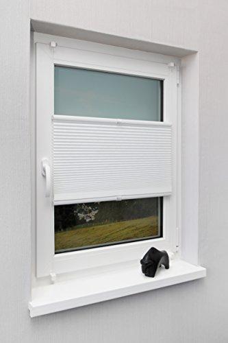 Wabenplissee Weiß verschiedene Gößen Fertigplissee verspannt für Fenster ohne Bohren Blickdicht mit Klemmträger Sonnenschutzrollo Fensterrollo Klemmfix Plissee Rollo Jalousie 70x220 cm