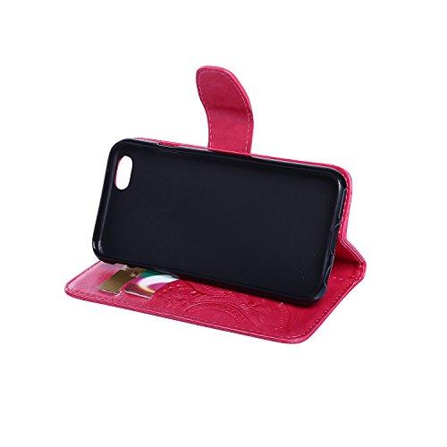 BONROY® Coque pour iPhone SE 5 5S,Housse en cuir pour iPhone SE 5 5S,imprimé étui en cuir PU Cuir Flip Magnétique Portefeuille Etui Housse de Protection Coque Étui Case Cover avec Stand Support Avec d rose rouge