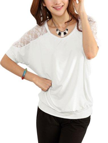 Damen Shorts Fledermausärmel Spitze Patchwork Freizeithemd Weiß