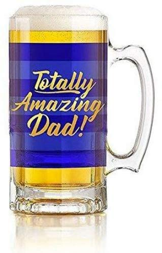 Totally amazing dad beer tankard - blue stripe design with gold writing-slp41101