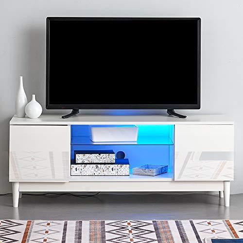 Ruication Moderner LED-TV-Schrank weiß matt Korpus weiß Hochglanz Front TV-Ständer RGB Lichter Sideboard Möbel für Wohnzimmer Schlafzimmer Büro 120 cm -