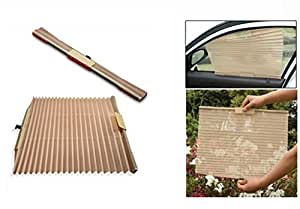 Auto Folding Side Window Car Curtain Beige(Set of 2) For Chevrolrt Spark