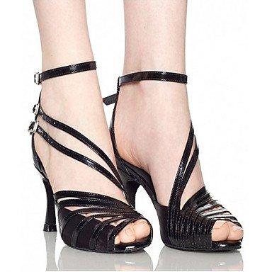 Scarpe da ballo-Personalizzabile-Da donna-Balli latino-americani Danza moderna Salsa-Tacco su misura-Raso Di pelle-Nero Viola scuro Black