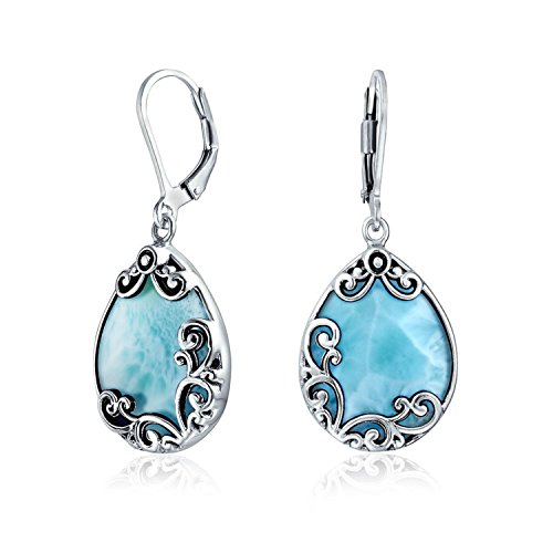 Bali Träne Blättern Filigranen Blättern Hellblau Larimar Baumeln Ohrringe Leverback Für Damen 925 Sterling Silber