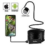 Endoskop CLY USB Endoskop Smartphone Iphone/Android 2,0 Megapixel CMOS HD Inspektionskamera ⌀5,5mm IP67 Wasserdichtes Sanitär Schlange Kamera mit 6 Einstellbare LEDs für IOS Android Smartphone,Tablette ( 5M )
