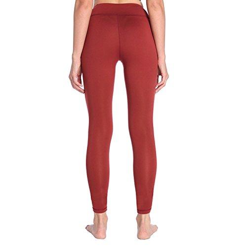 Leggings Fitness Yoga Per Donne Alta Vita Elastico Pantaloni Allenamento Traspirante Red