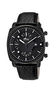 Lotus 10108/1 - Reloj cronógrafo de cuarzo para hombre con correa de piel, color negro