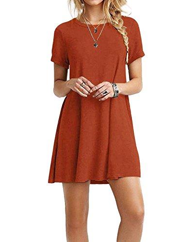 YOINS Sommerkleid Damen Tunika Tshirt Kleid Bluse Kurzarm MiniKleid Boho Maxikleid Rundhals Orange EU44