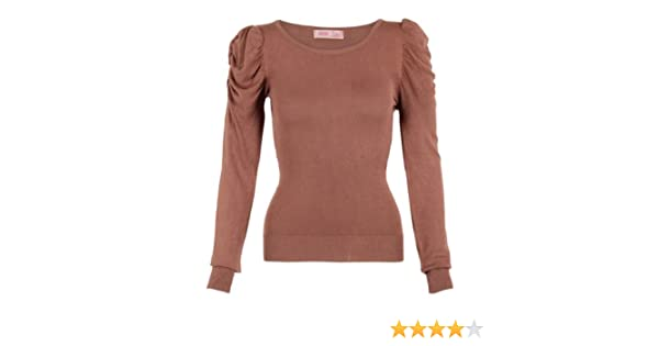 6499f3a8fa 3637-MOC-12  Retro Knit Ruched Puff Sleeve Ribbed Hem Jumper Sweater Top  Warm Winter 3637  Amazon.co.uk  Clothing