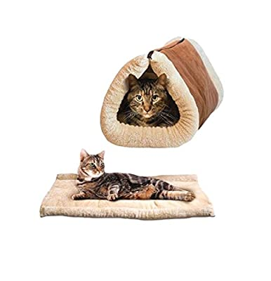 Ardisle 2 In 1 Pet Tunnel Bed Mat Cat Cushion Luxury Puppy Pad Fleece Self Heating Sofa