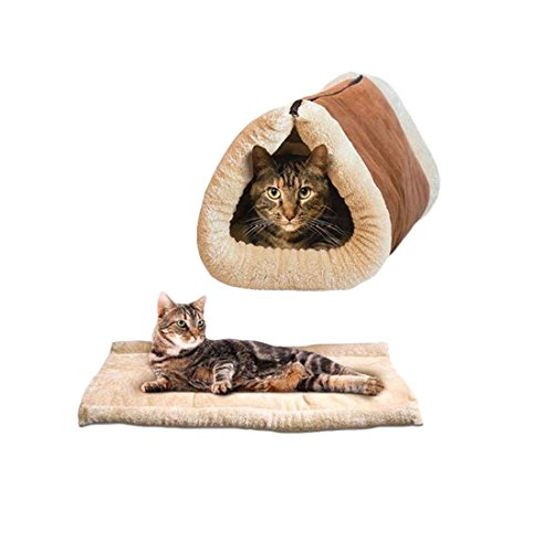 Ardisle 2 in 1 Pet Tunnel Bett Matte CAT Kissen Luxus Puppy Pad Fleece selbst Heizung Sofa -
