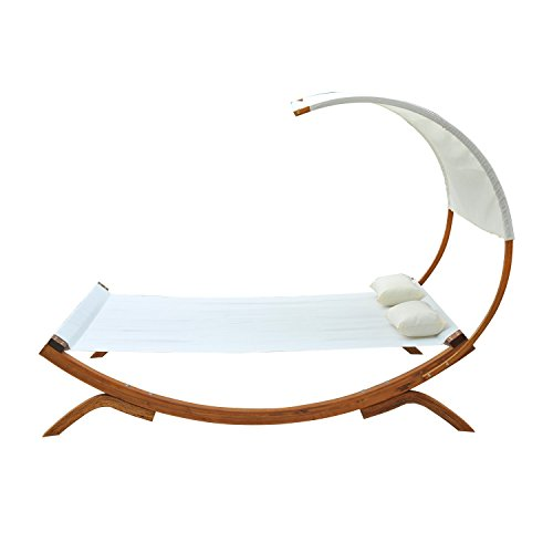 Outsunny Hammock Chaise Wooden Double Sun Bed Lounger - Cream