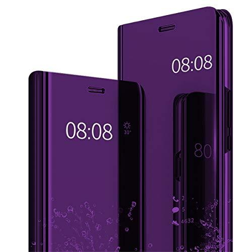 Riyeri Case Compatible with Samsung Galaxy S10 Plus Schutzhülle Flip Tasche Kratzfeste mit Standfunktion Bumper Samsung S10 Plus Handy Case 2018 (S10, purple) Handy Tasche Case