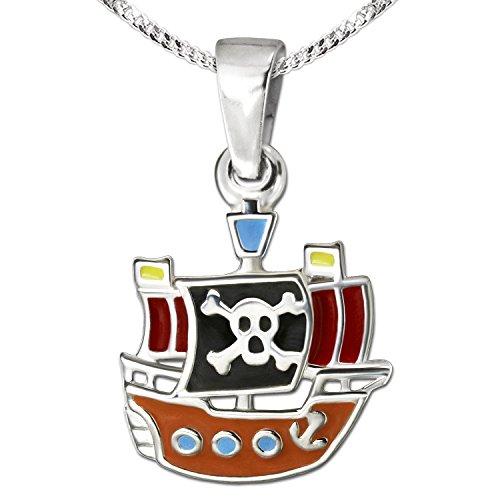 CLEVER SCHMUCK-SET Silberner kleiner Anhänger Mini Piratenschiff 11 x 12 mm bunt lackiert glänzend mit Kette Panzer 40 cm STERLING SILBER 925 für Kinder