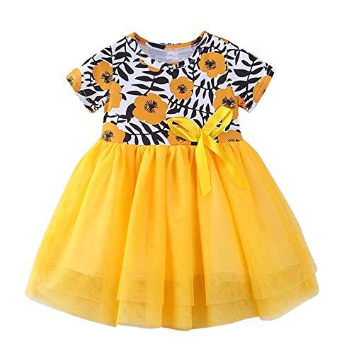 JUTOO Kinder Kleinkind Kinder Mädchen Blumendruck Patchwork Net Garn Tutu Kleid Kleidung ()