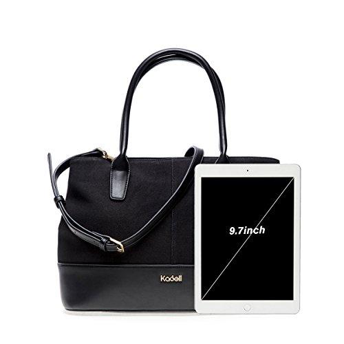 Kadell Sacchetto di cuoio della borsa delle donne Satchel per le donne Marrone Nero