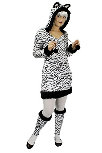 Karneval-Klamotten Zebra Kostüm Damen Zebra Kleid Damen mit Kapuze mit Ohren Tier-Kostüm Karneval Damen-Kostüm Größe ()