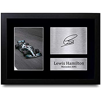 Signed 12x8 Black Motor Sport Lewis Hamilton Mercedes-AMG Petronas Autographed Photo Photograph Picture Frame Formula 1 F1 Gift A4